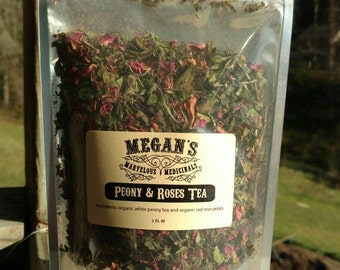 Peony and roses tea, organic white peony tea, organic red rose petals, loose leaf tea, organic white tea, pretty in pink, tea for romance.