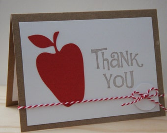 Teacher Appreciation Card.  Teacher Thank You Card.  Apple Card for Teacher.  Classroom Teacher Card.  Thank You Card for Teacher.