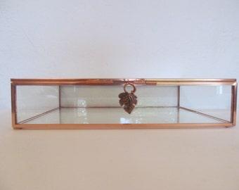 8 x 10 inch Copper and Glass Box, Photo Box, Display Box, Keepsake Box, Wedding Gift, Christmas Gift