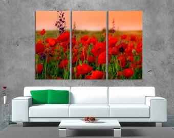 3 Panel Canvas Split, Field with beautiful red flowers, Photo Print on Canvas, canvas art, Interior design, Room Decoration, Photo gift