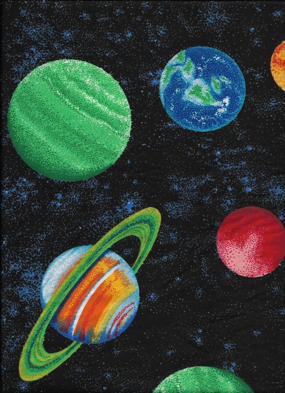 New black outer space with planets and stars 100 cotton for Outer space fabric by the yard