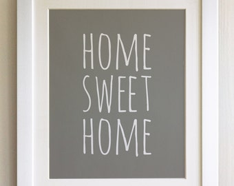 """FRAMED QUOTE PRINT, Home sweet Home, Framed or just print, black or white frame, 12""""x10"""", New home, housewarming gift"""
