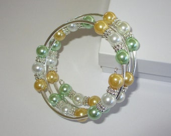 Pale Gold, White and Mint Green Pearl Memory Wire Bracelet