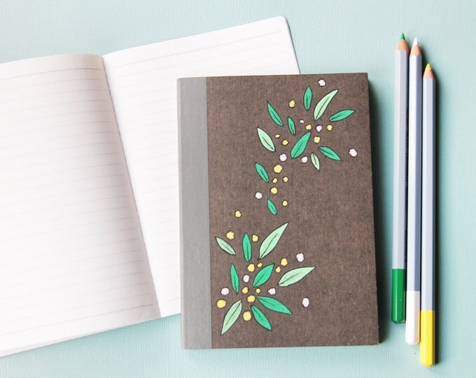 Small notebook - cover black background with floral - green leaves and yellow-white flowers, hand painted
