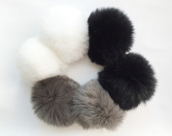Fluffy pom pom rabbit fur earrings (3 colors)