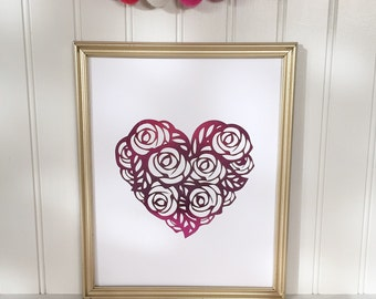 Real Foil Heart Print-Valentine's Day Decor-Love Print-Pink Home Wall Decor-Holiday Wall Art-Holiday Decor-Valentine's Day Gift