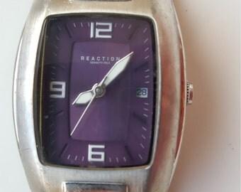 Rare Kenneth Cole Reaction Watch Purple & Chrome