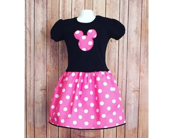 Pink Minnie Mouse Dress, Pink Polka dot Dress, Girl's Pink Minnie Dress, Little Girl Pink Minnie Dress