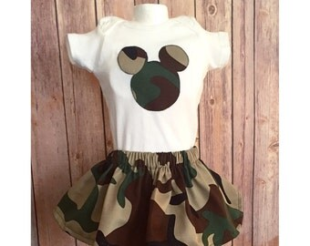 Camouflage Minnie Outfit, Minnie Mouse Camo, Minnie Skirt Set, Girls Camo Outfit