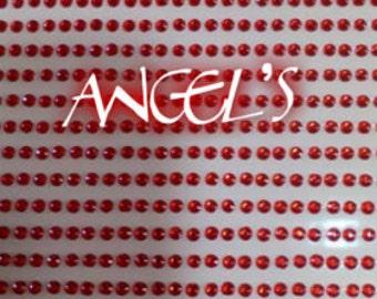 210 stickers red glitter 4 mm