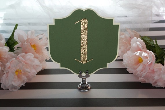 Olive Green Art Deco Table Numbers - green and gold - Old Hollywood - Gatsby Wedding - Boho table numbers