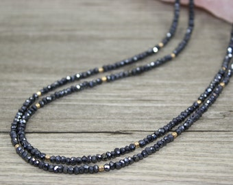 Double Strand Silver Black Spinel Necklace with Gold Filled Accent Beads / Nightlife Jewelry