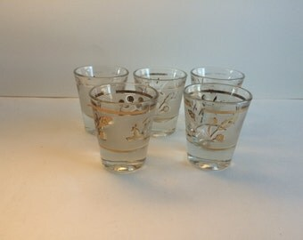 Gold Decal and Frosted Glass Shot Glasses