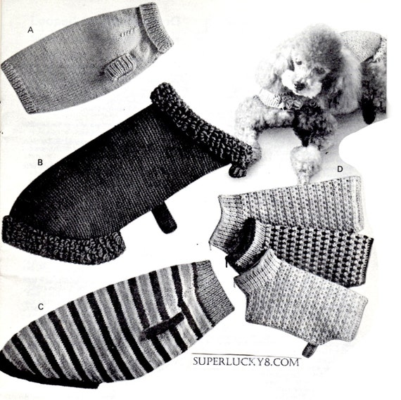 Vintage Dog Coats knitting PDF patterns some crochet in