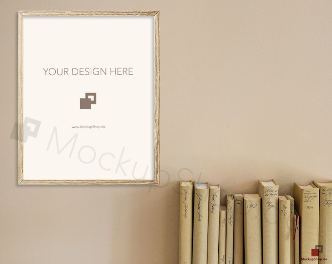 8x10 OLD FRAME MOCKUP wooden landscape / set of 2 / with and without passe-partout  instant download  frame mockup / old wooden frame mockup