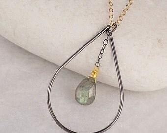 Labradorite Necklace/Teardrop Necklace/Mixed Metal Necklace/Saggitarius Birthstone