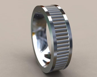 Silver 6mm Heavy Mens Wedding Band, Fluted Design 925 Sterling Silver Wedding Ring, Refined & Stylish Comfort Fit Mens Wedding Ring