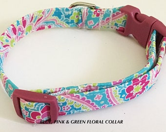 Pink & Blue Floral Girl Dog and Cat Collar