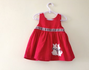Fuzzy Dogs Vintage Holiday Dress - 12 Months