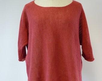 Sale! New price 50 EUR, original price 70 EUR. Casual coral linen blouse, L size.
