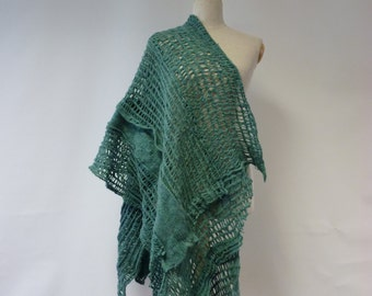 Boho green felted long shawl. One-of-a-kind, perfect for gift.