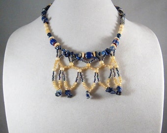 BLUE CHEVRON BEADED Necklace with Earrings