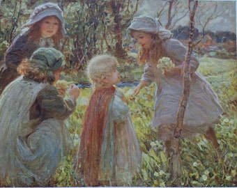 Antique Print 1915 - Fred Stead - Children Picking Primroses - Woodland Scene - Flower Picking - Matted - Ready to Frame