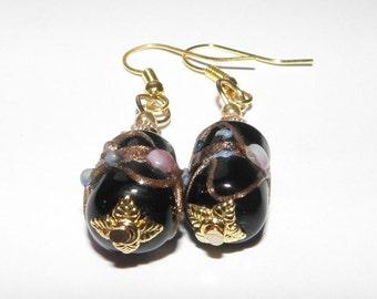 Black Czech glass earings