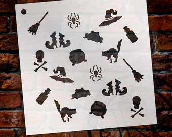 """Witchy Things Pattern Stencil - 6"""" x 6"""" - STCL929_1 by StudioR12"""