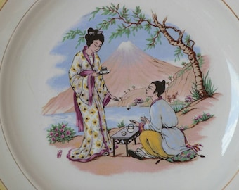 Decorative plate - French plate - Japanese print - Japanese engraving - Mid century - Made in St Amand