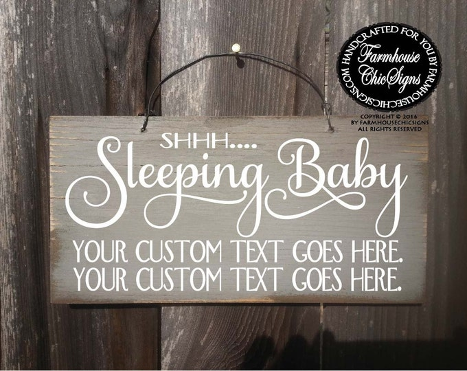 baby sleeping sign, baby shower gift, baby signs, do not ring doorbell, do not knock, custom baby sleeping sign, custom sign, no soliciting