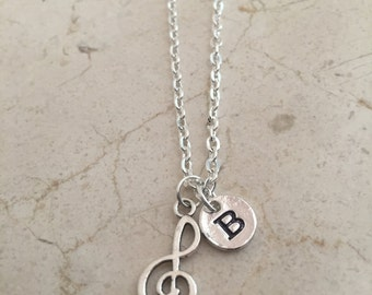 Treble clef initial necklace, music necklace, treble clef, gift for musician, music teacher gift, band jewelry, musician jewelry