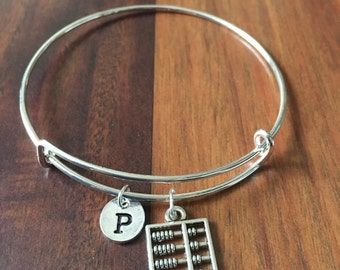 Abacus charm bracelet, abacus jewelry, accountant bracelet, gift for math teacher, silver abacus bangle, teacher jewelry, math jewelry