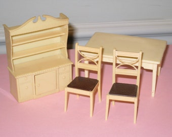 1950s Renwal Hard Plastic Dollhouse Cream/Off-White Table, 2 Chairs, China Cabinet