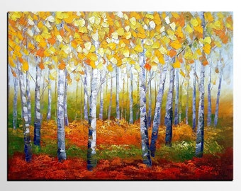 Original Art, Abstract Art, Impasto Art, Oil Painting, Canvas Art, Large Wall Art, Canvas Painting, Landscape Painting, Birch Tree Painting