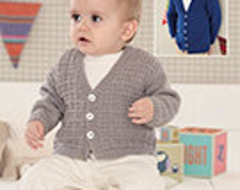 Sirdar Snuggly DK Knitting Pattern 4657  Birth to 7 Years Boys V neck Cardigan