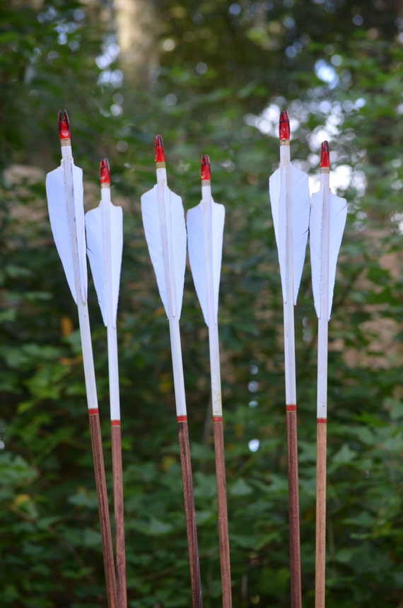Archery Arrows, wood archery arrows, set of 6 white dipped with red and gold cresting