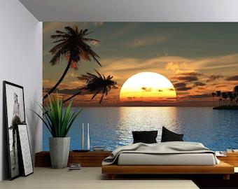 Superior Tropical Sunset Ocean Palm Tree   Large Wall Mural, Self Adhesive Vinyl  Wallpaper, Good Looking