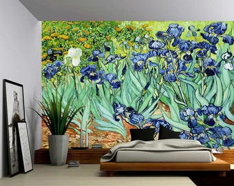 Irises - Large Wall Mural, Self-adhesive Vinyl Wallpaper, Peel & Stick fabric wall decal
