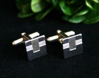 Vintage engraved cufflinks gold cufflinks square cuff links mens accessories