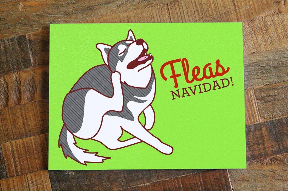 Funny Dog Christmas Card FLEAS Navidad Dog
