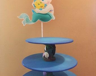 baby Ariel The Little Mermaid Inspired Cupcake and Cake Stand. Princess Ariel Cupcake and cake stand