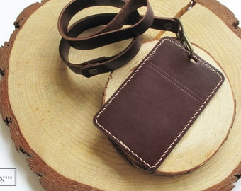 Horween Leather Lanyard with ID holder / Leather Lanyard Badge Holder / Leather LanyardCard holder