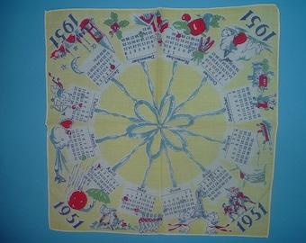 Vintage 1951 Childs Calendar Hanky Handkerchief Free US Shipping