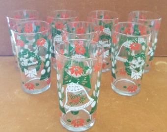 Set of 6 mid century decorate Christmas glasses