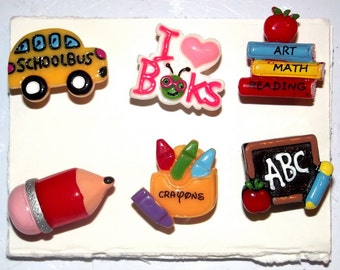 SCHOOL ICONS 6pc Handmade Decorative Bulletin Board Push Pin Thumb Tacks