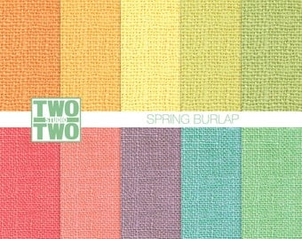 "Burlap Digital Paper: ""SPRING BURLAP"" in Orange, Yellow, Green, Blue, Purple, and Pink, Burlap Texture, Burlap Background"