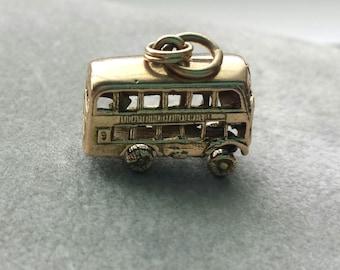 Double Decker Bus vintage 9k yellow gold charm