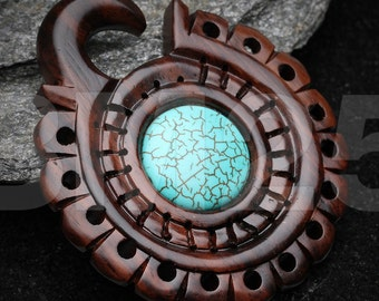 A Pair of Sono Wood Bali Tribal Turquoise Gong Hanger