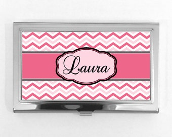 Name Business Card Holder - Pink Chevron Monogram- Personalized Name on Business Card Holder- Custom card case Monogrammed 318